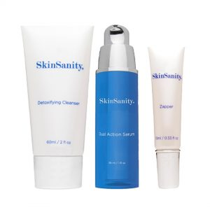clean beauty products, clean beauty products online, Buy clean beauty products, Buy clean beauty products online, skinsanity, three bottles, two white and one blue bottle in the middle, dermone product