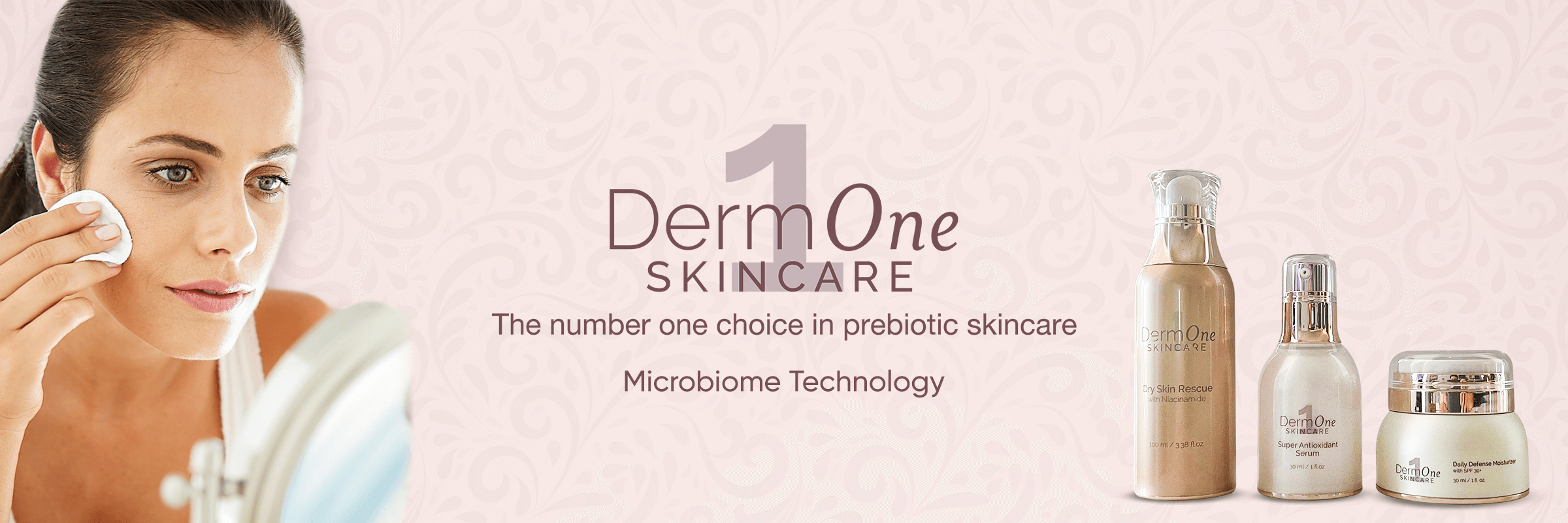 clean beauty products, clean beauty products online, skinsanity, Derm One skincare, the number one choice in prebiotic skincare, microbiome technology